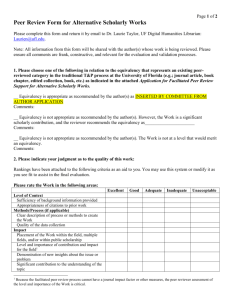 Peer Review Form for Alternative Scholarly Works