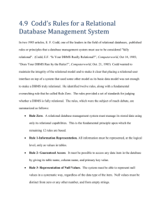 4.9 Codd`s Rules for a Relational Database Management System In