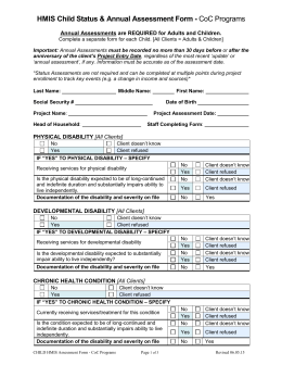 CHILD CoC Program_Status and Annual Assessment Form