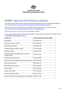 NHMRC Approved Administering Institutions