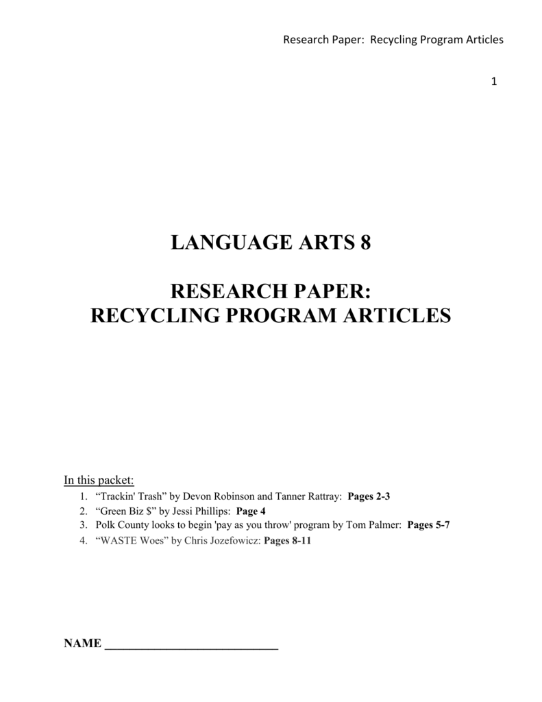 Recycling research paper