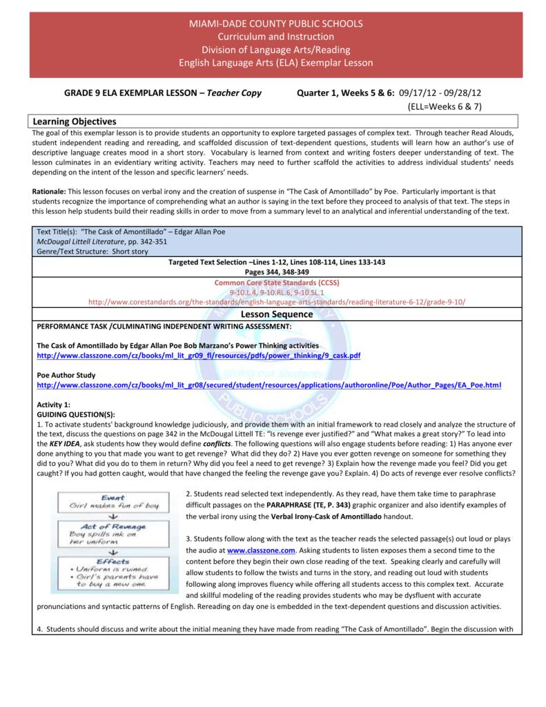 GRADE 9 ELA EXEMPLAR LESSON – Teacher Copy Quarter 1