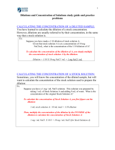 Dilutions and Concentration of Solutions study guide and - Bio-Link