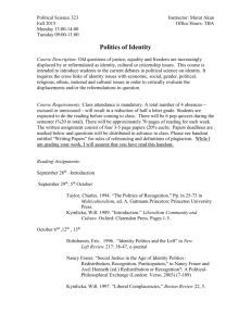 Politics of Identity fall 2015 - Department of Political Science