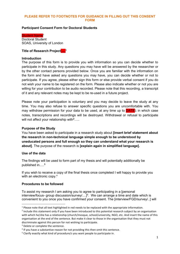 Consent form for postgraduate dissertation altavistaventures Gallery