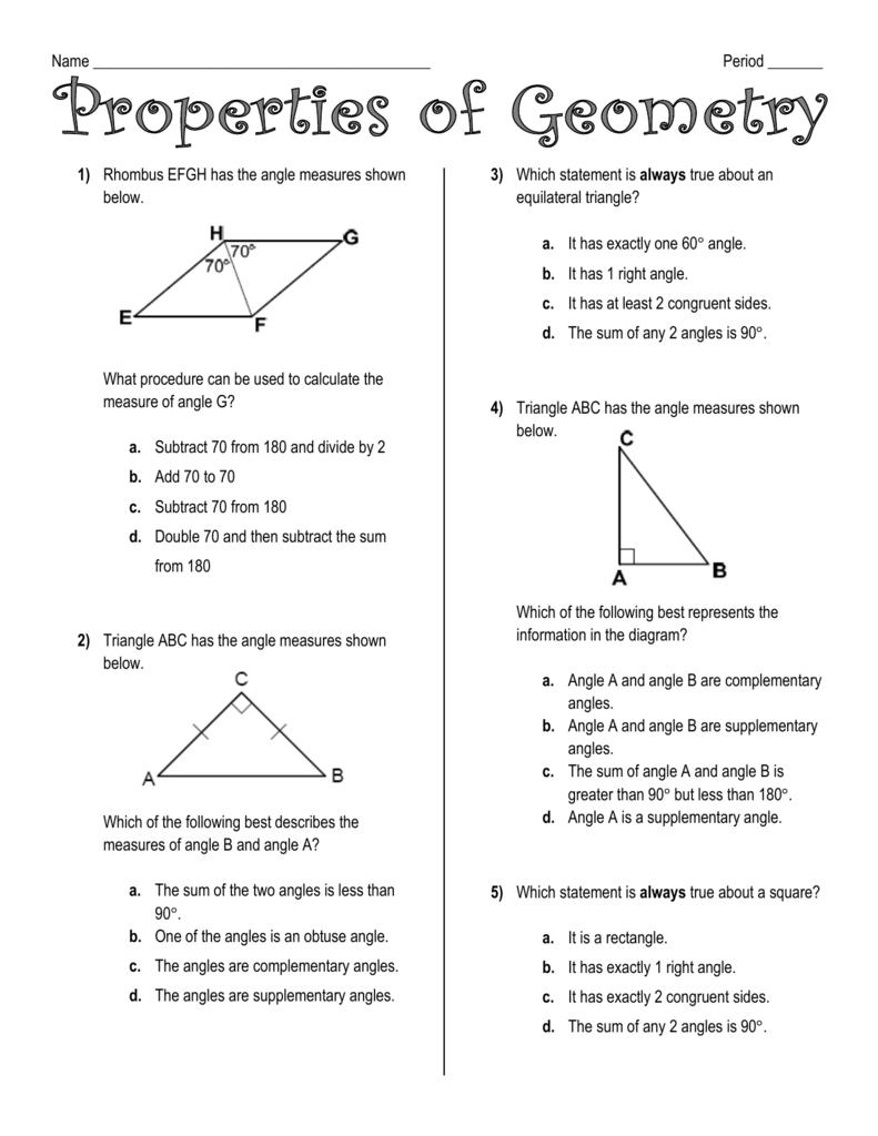 Name Period ______ Properties Of Geometry Rhombus EFGH Has