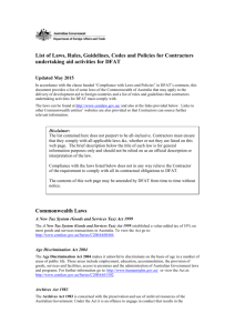 List of Laws, Rules, Guidelines, Codes and Policies for Contractors