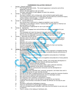 SAMPLE COURSEBOOK EVALUATION CHECKLIST GUIDELINES
