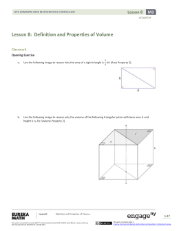 Lesson 8: Definition and Properties of Volume