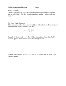 4.6 The Mean Value Theorem Name