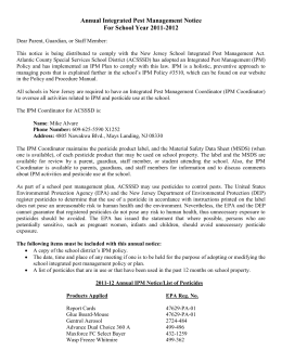 Annual Integrated Pest Management Notice For School Year 2011