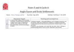 Years 5 and 6 Cycle A Anglo-Saxon and Scots Settlements Classes