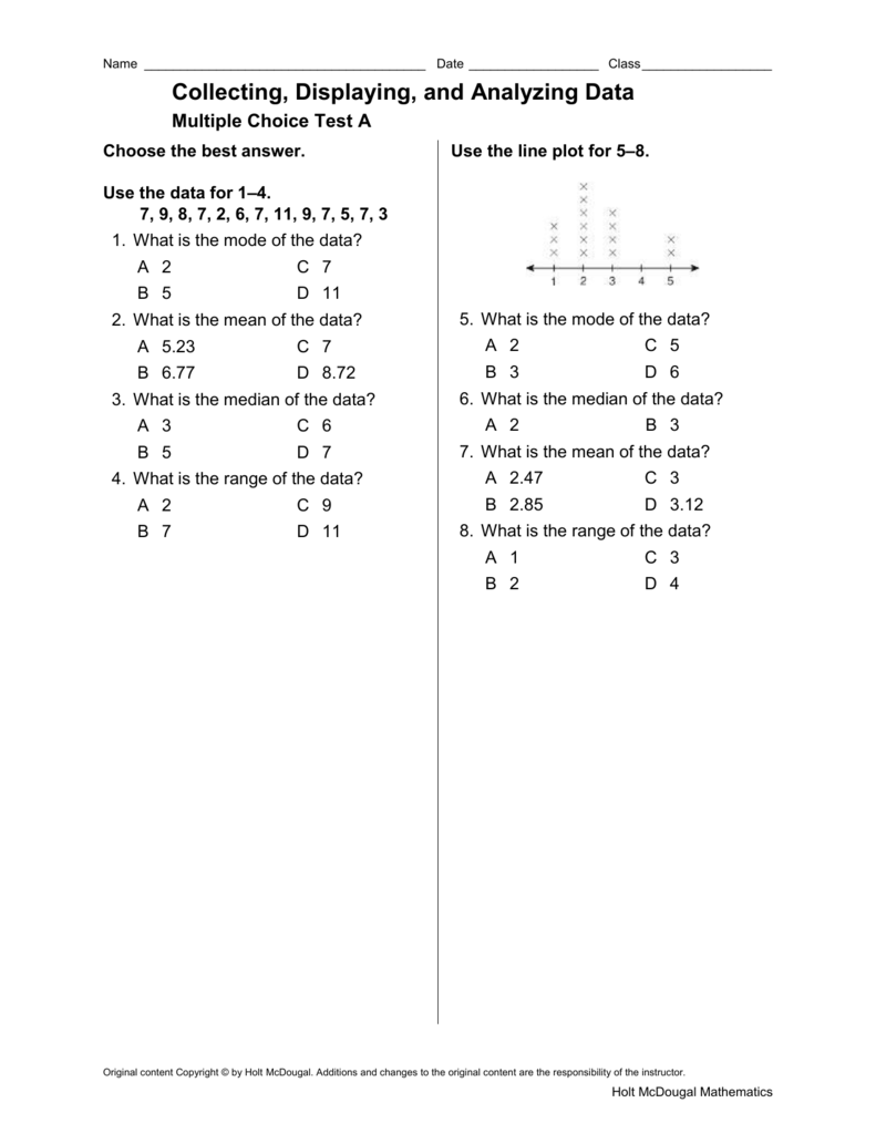 Collecting, Displaying, and Analyzing Data Multiple Choice