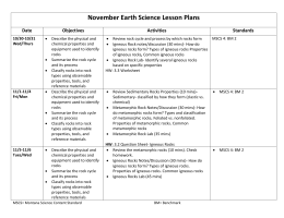 November Earth Science Lesson Plans Date Objectives Activities