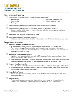 Space Survey Checklist - Accounting & Financial Services @ UC