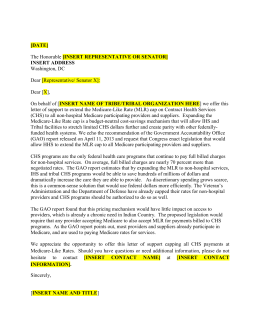 MLR Sample Letter to Members of Congress