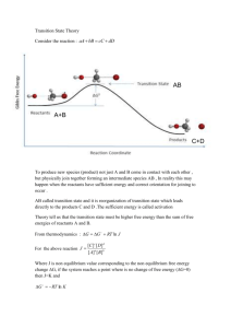 Transition State Theory Consider the reaction : A+B C+D AB To