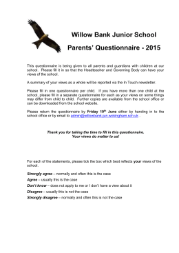 Parental Survey 2015 - willowbank junior school