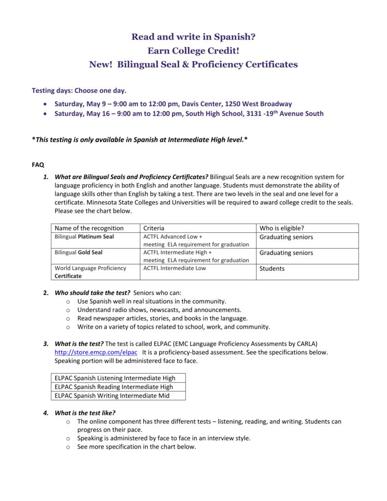 New Bilingual Seal Proficiency Certificates