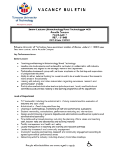 Senior Lecturer HOD Biotechnology Food Technology