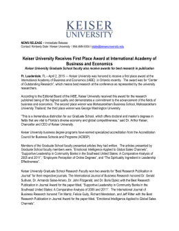 Keiser University Receives First Place Award at International