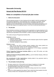 Annual Job Plan Form - Newcastle University