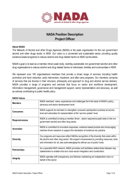 NADA Position Description Project Officer