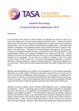 TASA The Australian Sociological Association Applied Sociology