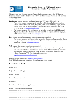 Publication Form for Project Directors