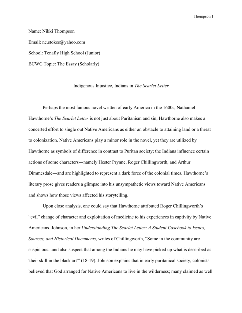 Essay On Teachers  Vote Essay also Examples Of Process Essays Indigenous Injustice Indians In The Scarlet Letter Controversial Medical Topics For Essays