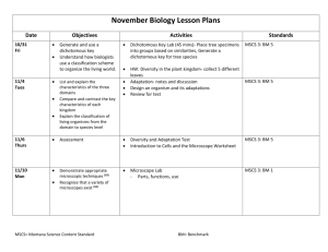 November Biology Lesson Plans Date Objectives Activities Standards