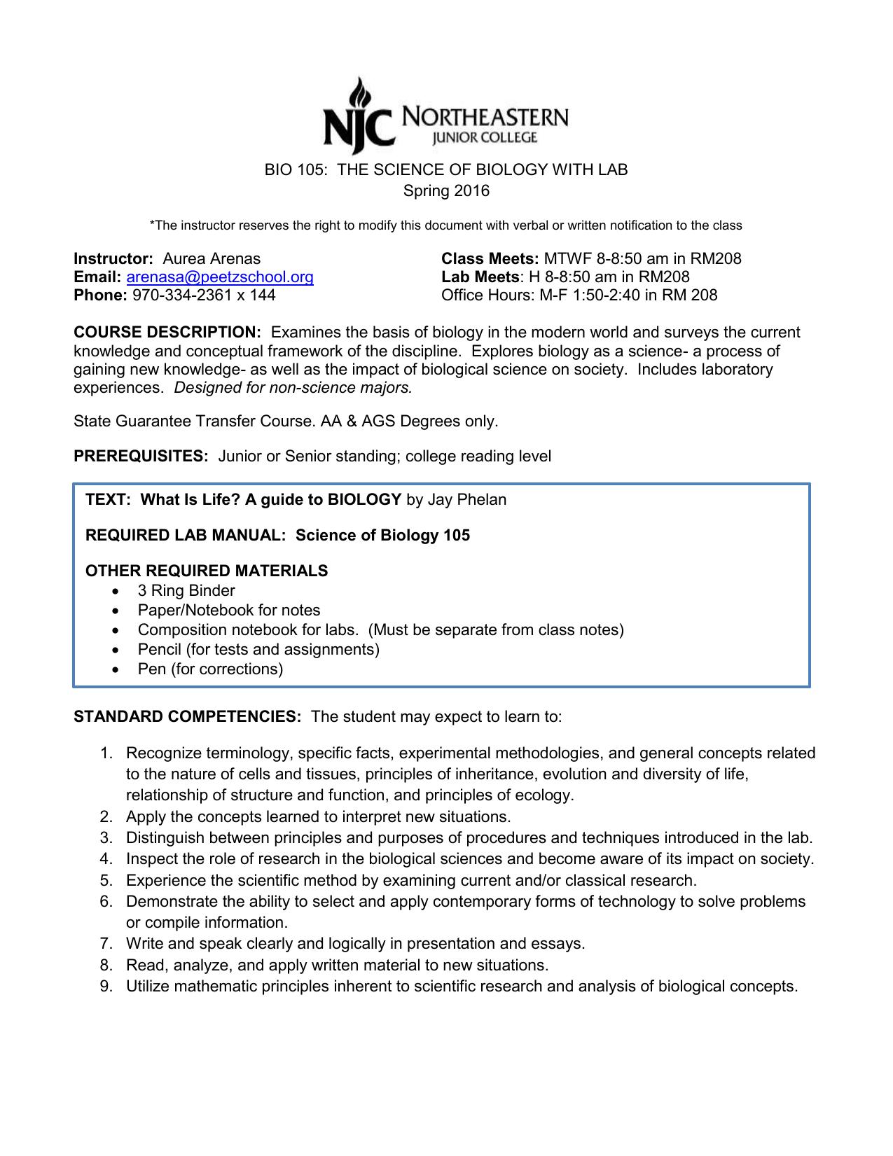 bio 105 syllabus rh studylib net College Biology Lab Biology Laboratory Manual Answers