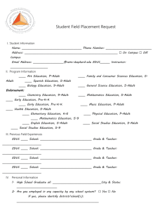 Field Placement Request Form Page 1