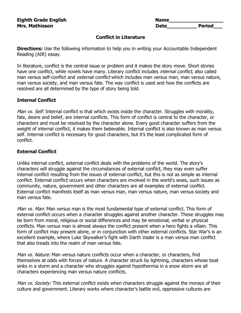 essay about conflict in literature Conflict resolution essays, conflict term paper literature papers political science papers computer science papers technology papers biology papers.