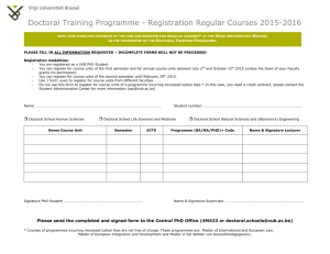 Doctoral Training Programme - Registration Regular Courses 2015