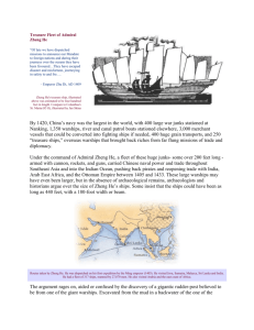 "Treasure Fleet of Admiral Zheng He ""Of late we have dispatched"