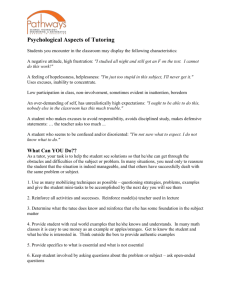 Psychological Aspects of Tutoring