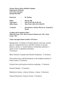 Nuclear Physics (Phys 0302463) Syllabus