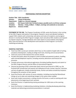 PROFESSIONAL POSITION DESCRIPTION Position Title: ESOL