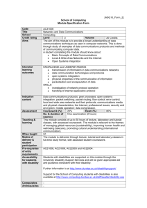Module Specification Form - Computing at University of Dundee