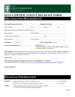 Self Certification Checklist