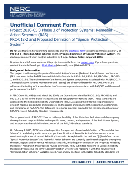 NERC Unofficial Comment Form (SAR)
