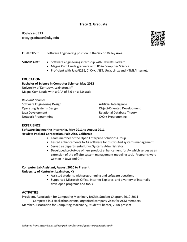 Resume Sample Computer Science Department