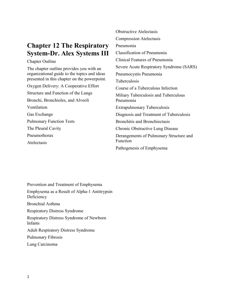 Chapter 12 The Respiratory System Dr Alex