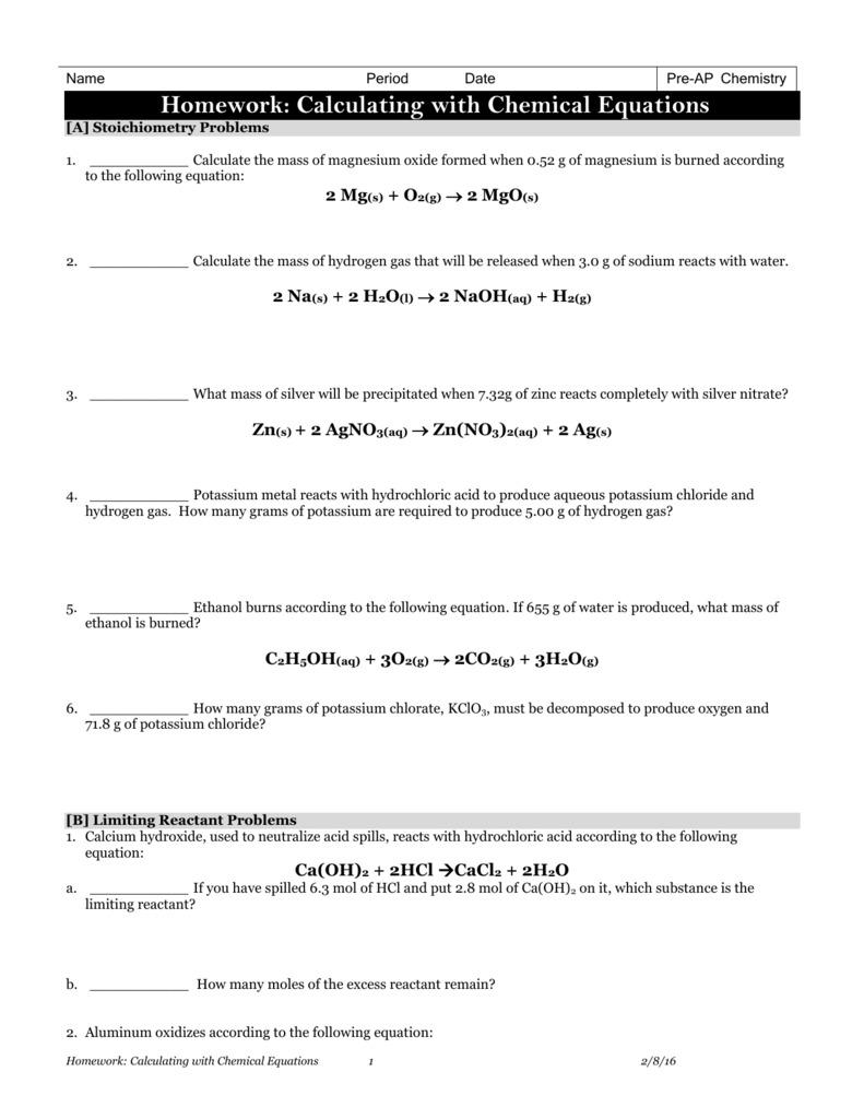 Homework Calculating with Chemical Equations – Chemical Equations and Stoichiometry Worksheet Answers