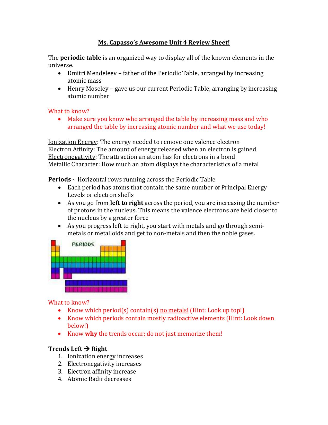 Unit 4 review sheet urtaz Image collections