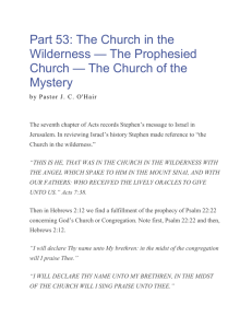 Part 53 - The Church in the Wilderness