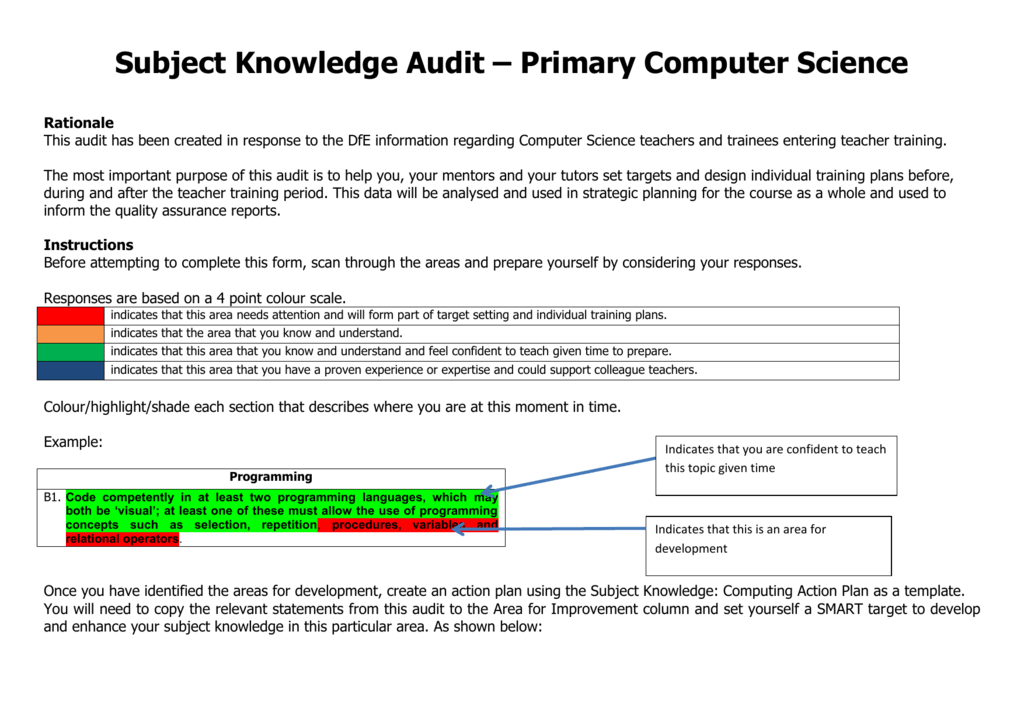 Subject Knowledge Audit – Primary Computer Science