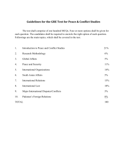 Guidelines for the GRE Test for Peace & Conflict Studies