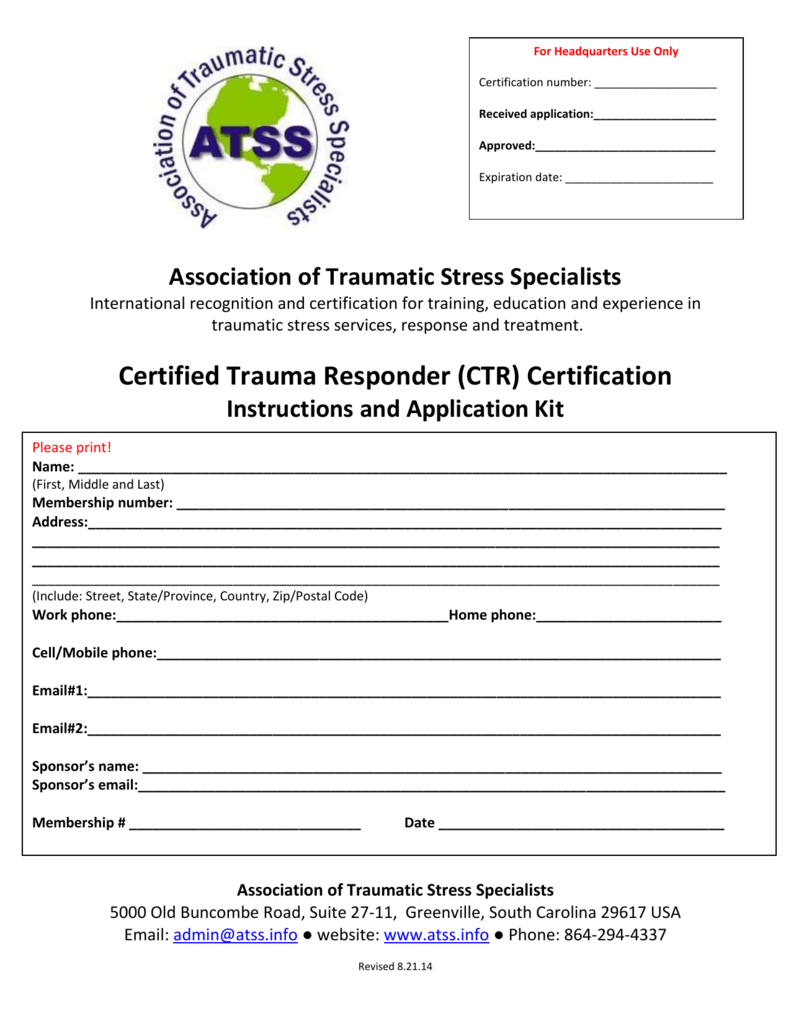 Ctr Application 2014 Association Of Traumatic Stress